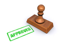 Stamp approved. Rubber stamp with the word approved, isolated on a white background (3d render Stock Images