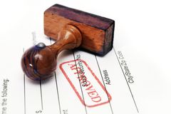 Stamp approved. Close up of Stamp approved Royalty Free Stock Image