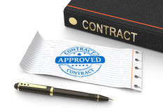 Stamp approved. With contract document Stock Photography