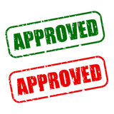 Stamp approved with green and red text Royalty Free Stock Photography