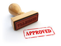 Stamp Approved isolated on white. Agreement or approval concept. Stock Image