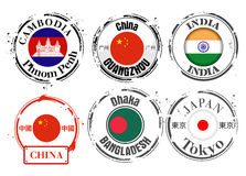 Stamp of Asian capitals Stock Photos