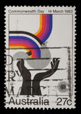 Stamp from Australia shows image celebrating social justice and cooperation, from the Commonwealth Day Stock Images