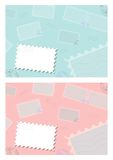 Stamp background. Set of two stamp theme backgrounds with a blank white stamp Royalty Free Stock Photos