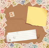 Stamp background with torn paper and post-it. Illustration Royalty Free Stock Images