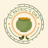 Stamp or badge design for Happy St. Patricks Day. Happy St. Patricks Day celebration stamp design with gold coins earthenware and leprechaun birds Stock Image
