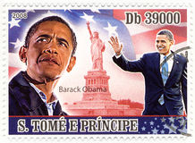 Stamp with Barack Obama Royalty Free Stock Images