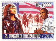 Stamp with Barack Obama Stock Photo
