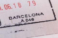 Stamp of Barcelona airport customs on arrival in the passport. royalty free stock photo