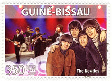 Stamp The Beatles. Stamp with famous group of The Beatles stock photography