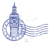 Stamp with Big Ben - landmark of London Royalty Free Stock Photography