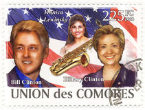 Stamp with Bill Clinton and wife Hillary Stock Photo