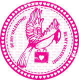 Stamp with bird and love letter Stock Images