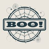 Stamp with Boo text. And spider net. Round shape Stock Photos