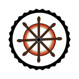 Stamp border with colorful boat helm Royalty Free Stock Images