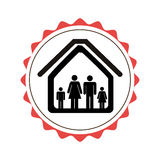 Stamp border with silhouette family in house pictogram Royalty Free Stock Images