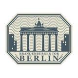 Stamp with Brandenburg gate, Berlin vector illustration