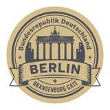 Stamp with Brandenburg gate, Berlin stock illustration