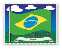 Stamp Brazil. Stamp with flag from Brazil -Vector Royalty Free Stock Photo
