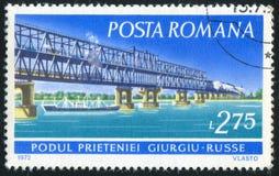 Stamp bridge. ROMANIA - CIRCA 1972: stamp printed by Romania, show bridge, circa 1972 stock image