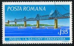 Stamp bridge. ROMANIA - CIRCA 1972: stamp printed by Romania, show bridge, circa 1972 stock photos