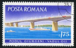 Stamp bridge. ROMANIA - CIRCA 1972: stamp printed by Romania, show bridge, circa 1972 royalty free stock photos