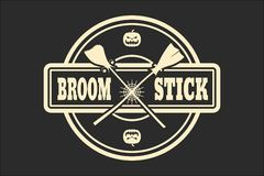Stamp with broomstikc text. And pumpkins. Round shape seal. Monochrome style Royalty Free Stock Image