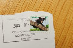 Stamp with Canadian bear issued by Canada Post. PARIS, FRANCE - DEC 30, 2013: Franked postage stamp with Canadian bear issued by Canada Post Stock Images