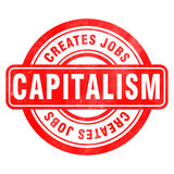 Stamp of Capitalism. Jobs, red, round Stock Image
