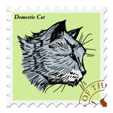 Stamp with cat Royalty Free Stock Images
