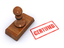 Stamp certified. Rubber stamp certified isolated on a white background (3d render&#x29 Stock Photo
