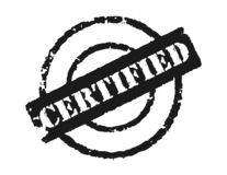 Stamp 'Certified'. An effective way to show the a certifcation, blank area can be used to put in some text Stock Image