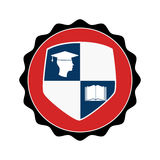 Stamp circular with shield elements graduation Royalty Free Stock Photo
