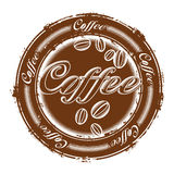 Stamp with coffee beans Royalty Free Stock Photography