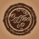 Stamp with coffee beans Stock Photography