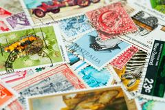 Stamp collection Stock Images
