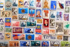 Stamp collection background Stock Photography