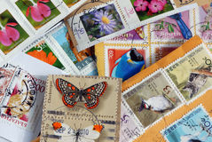 Stamp collection closeup Stock Image