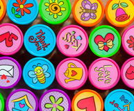 Stamp Collection in Many Vibrant Colors. Set of Colorful Stamps with Various Symbols for Friends royalty free stock image