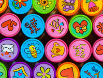 Stamp Collection in Vibrant Colors. Set of Colorful Stamps with Various Symbols for Friends stock images