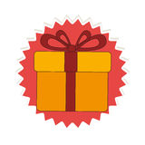 Stamp with colorful box gift with ribbon bow Royalty Free Stock Images