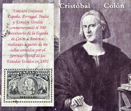 Stamp commemorating Columbus' arrival to America Stock Images