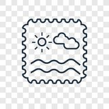 Stamp concept vector linear icon isolated on transparent backgro royalty free illustration