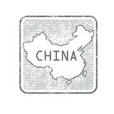 Stamp with contour of map of China. Square simple stamp with contour of map of China travel Asia Royalty Free Stock Images