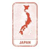 Stamp with contour of map of Japan. Contour of Japan Stock Photos