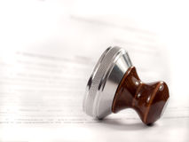 A stamp  on the contract. Stock Photos