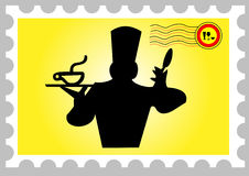 Stamp with a cooker Royalty Free Stock Photo