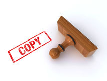 Stamp copy. Rubber stamp showing the word `copy` over the white background (3d render&#x29 Stock Images