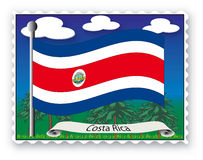 Stamp Costa Rica. Stamp with flag from Costa Rica - Vector Stock Images