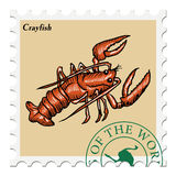 Stamp with crayfish Stock Image